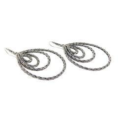 John Hardy 925 Sterling Silver Tear Drop Classic Chain Earrings