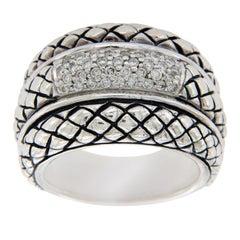 Scott Kay 925 Sterling Silver Diamonds Basket Weave Ring