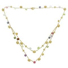 Marco Bicego 18 Karat Yellow Gold Mixed Stone Paradise Necklace