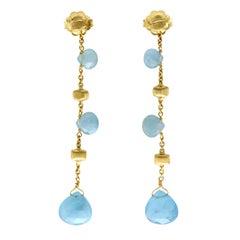 Marco Bicego Blue 18 Karat Yellow Gold Aquamarine Paradise Earrings