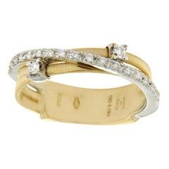 Marco Bicego Yellow and White 18 Gold Diamond Bridal Wedding Band Ring