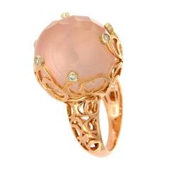 Chimento Pink Quartz and Diamonds in 18 Karat Rose Gold Boule Ring