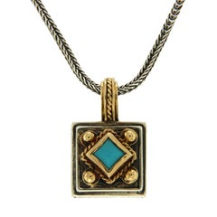 Konstantino 925 Silver and 18 Karat Gold Turquoise Pendant Necklace