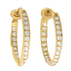 "H. Stern 18 Karat Yellow Gold 4.85 Carat Diamonds 1.12"" Hoop Earrings"