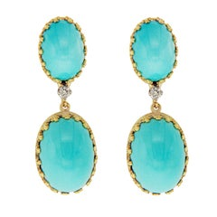 Vintage 18 Karat Yellow Gold Diamond Blue Turquoise Earrings