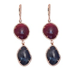 Silver Sliced Cut 39ct Blue Sapphire & Ruby 1.24 Ct Diamonds 14k Gold Earrings