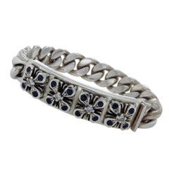SOFFER ARI 925 Silver Blue Sapphire & Diamond Perfect Collateral Cross Bracelet
