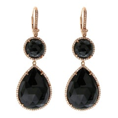 Black Rose Cut Sliced 28 Ct Onyx 0.56ct Diamonds 14k Rose Gold Earrings