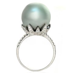 South Sea Pearl and 0.35 Carat Diamonds in 18 Karat White Gold Ring