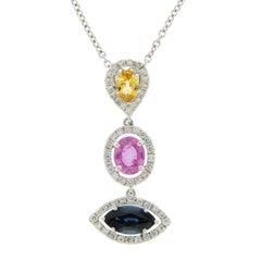 3.12 Ct Natural Multi Stones & 0.55 Ct Diamonds 14k Gold Drop Necklace