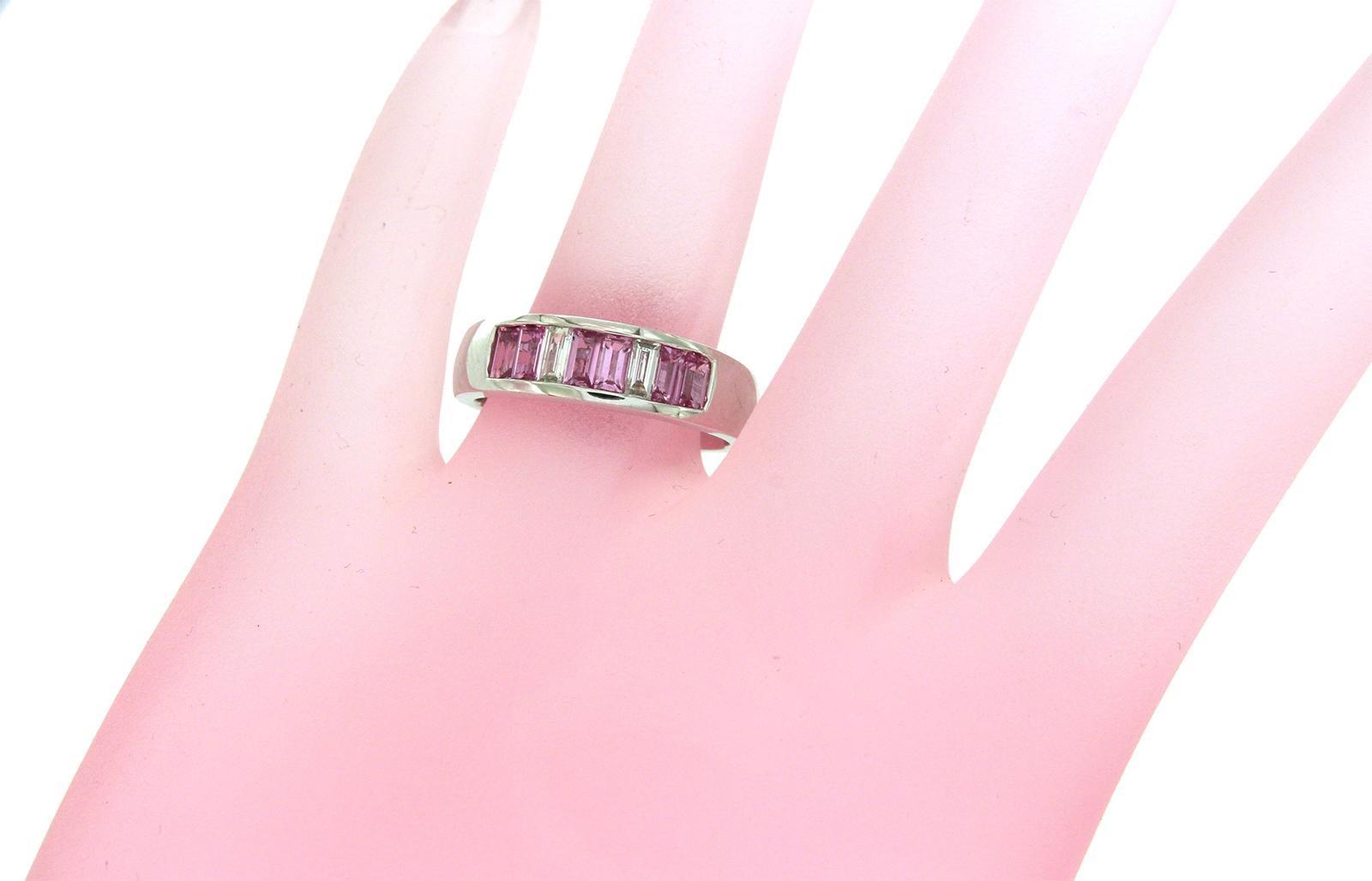 18 Karat Gold 0.20 Carat Diamonds and 1 Carat Pink Sapphire Wedding ...