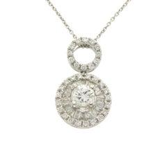 0.57 Carat Diamond 18 Karat Gold Round Pendant 14 Karat Gold Chain Necklace
