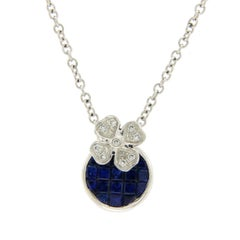 1.35 Carat Natural Sapphire 0.08 Carat Diamond 14 Karat Gold Flower Necklace