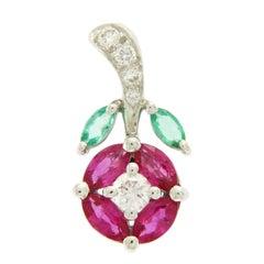 1.00 Carat Multi Gemstones 0.20 Carat Diamond 18 Karat Gold Flower Pendant Charm
