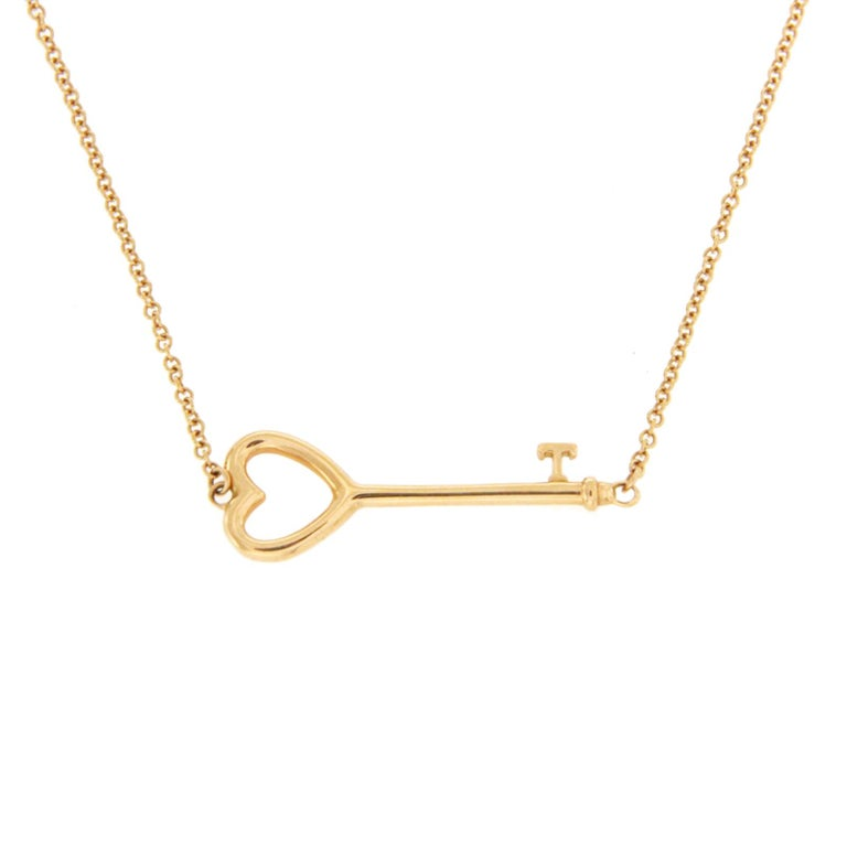 Tiffany and co 18 karat gold east west heart key pendant necklace tiffany co 18 karat gold east west heart key pendant necklace for sale aloadofball Image collections