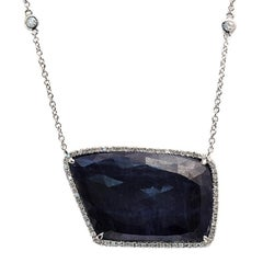 Rose Cut Sliced 28 Ct Blue Sapphire 0.43 Ct Diamonds 14k White Gold Necklace
