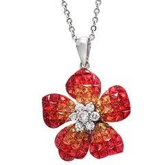 14 Karat Gold 0.32 Carat Diamonds 7.29 Carat Orange Sapphire Flower Necklace