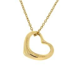 Tiffany & Co. 18 Karat Yellow Gold Peretti Open Heart Necklace