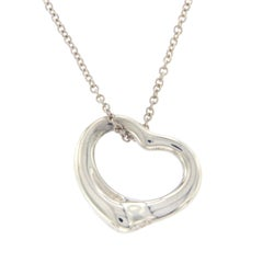 Tiffany & Co. 925 Silver Elsa Peretti Open Hearts Necklace