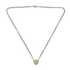 David Yurman 18 Karat Gold and Sterling Silver Pave Diamond Heart Necklace