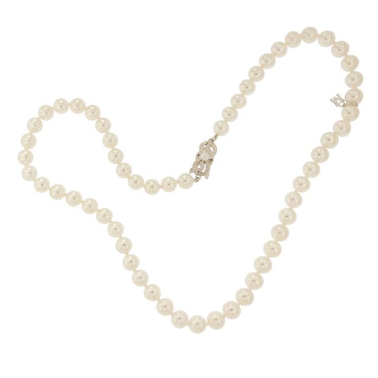 Mikimoto Akoya Pearl Princess Strand 18 Karat Gold Clasp Necklace
