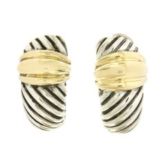 David Yurman 925 Silver 14 Karat Yellow Gold Cable Large Shrimp Earrings