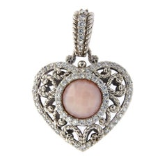 Judith Ripka 925 Sterling Silver Cz and Pink Agate Heart Pendant Charm