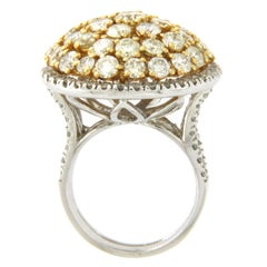 14 Karat White Gold 6.45 Carat Diamonds Dome Cocktail Ring