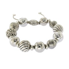 David Yurman Sterling Silver Classic Ball Beads Adjustable Bracelet