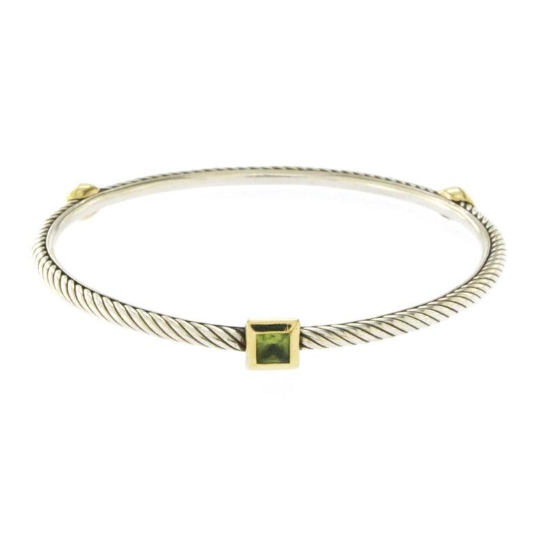 David Yurman 925 Silver 18 Karat Gold Prasiolite 3 Station Cable Cuff Bracelet
