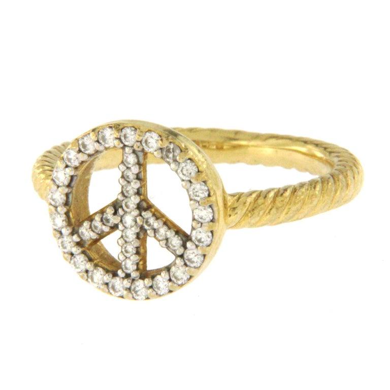 David Yurman 18 Karat Yellow Gold Cable Diamond Peace Sign Ring For