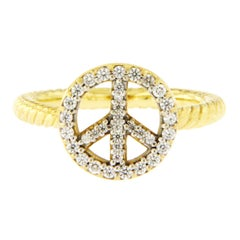 David Yurman 18 Karat Yellow Gold Cable Diamond Peace Sign Ring