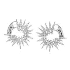 0.55 Carat Natural G Si1 Diamonds in 14 Karat White Gold Fire Works Earrings