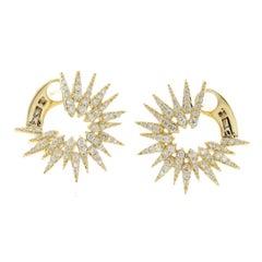 0.55 Carat Natural G Si1 Diamonds in 14 Karat Yellow Gold Fire Works Earrings