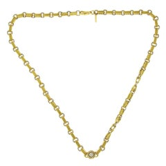 Pepi 18 Karat White and Yellow Gold 33 Grams Diamond Link Chain Necklace