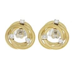 Marco Bicego 18 Karat Yellow Gold Diamond Jaipur Links Stud Earrings
