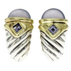 David Yurman 925 Silver and 14 Karat Gold Chalcedony and Tanzanite Earrings