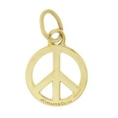 Tiffany & Co. 18 Karat Yellow Gold Peace Sign Pendant Charm