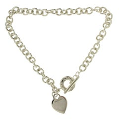 Tiffany & Co. 925 Sterling Silver Heart Tag Link Necklace
