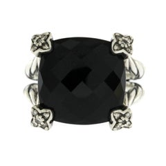 David Yurman 925 Silver Diamond Black Onyx Cushion on Point Ring