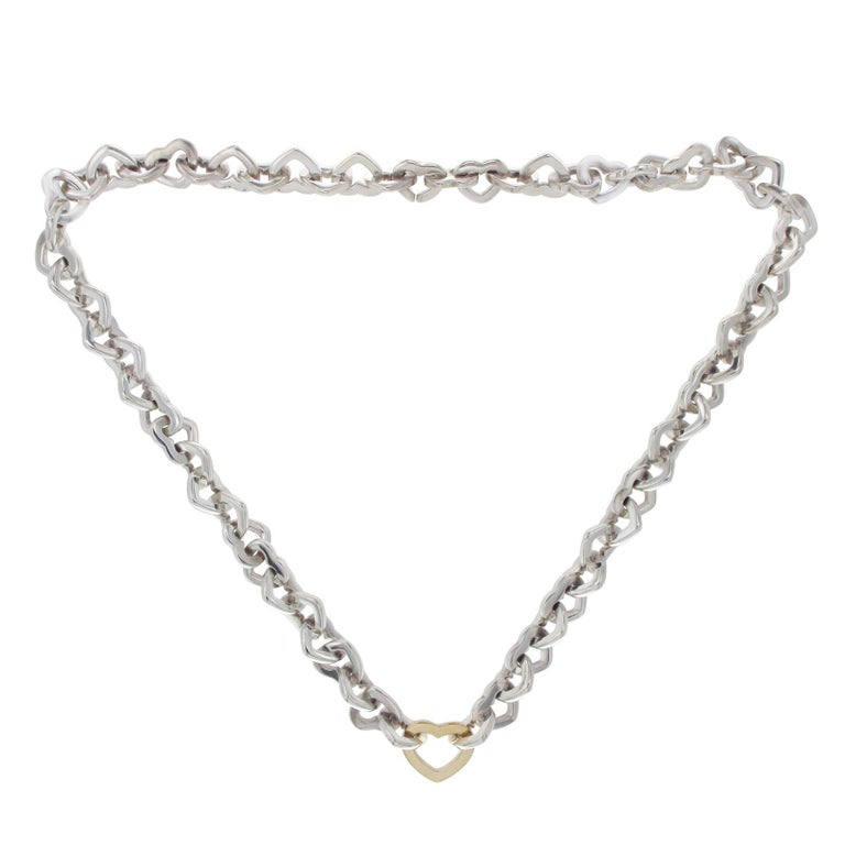 Tiffany & Co. 18 Karat Gold and Sterling Silver Hearts Link Necklace