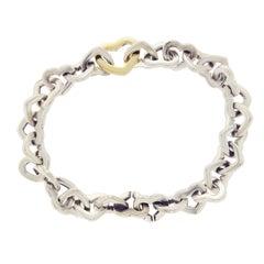 Tiffany & Co. 18 Karat Gold and Sterling Silver Heart Link Bracelet