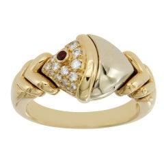 Bulgari Tow-Tone Naturalia Diamonds and Ruby 18 Karat Gold Fish Ring