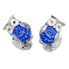Deakin & Francis Enamel Silver Owl Cufflinks