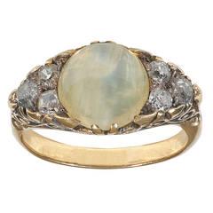 Cat's Eye Chrysoberyl Diamond Gold Ring