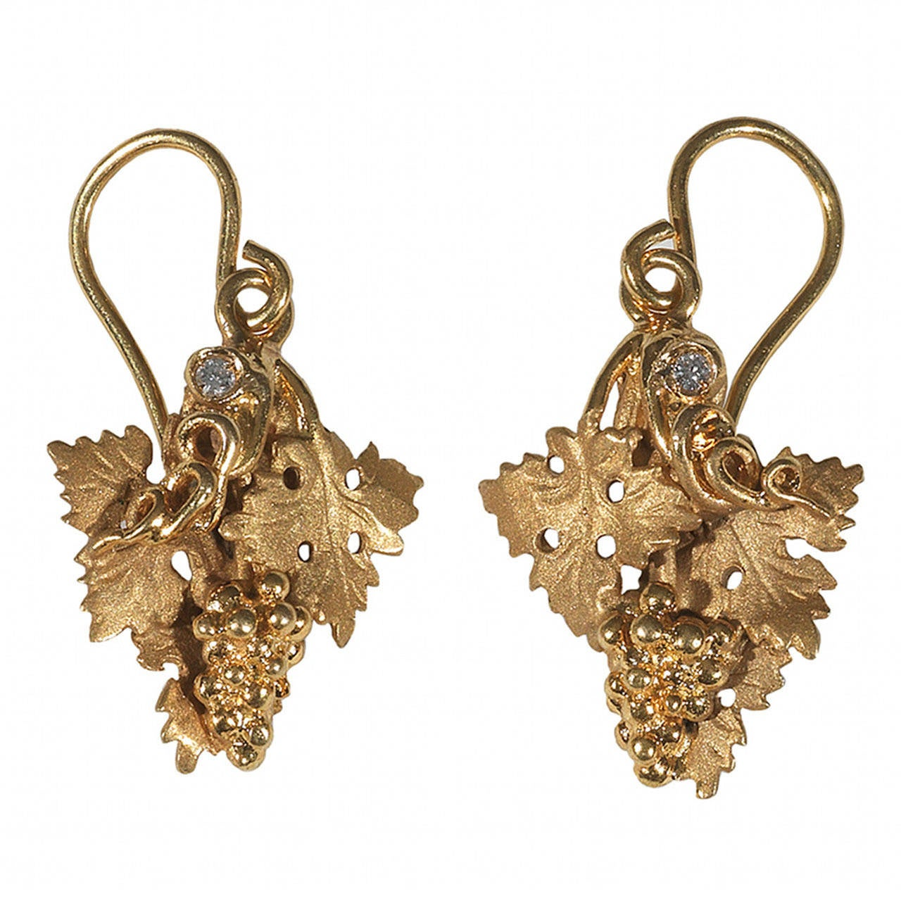 Diamond Gold Archaeological Style Earrings