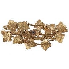 Diamond Gold Archaeological Style Brooch