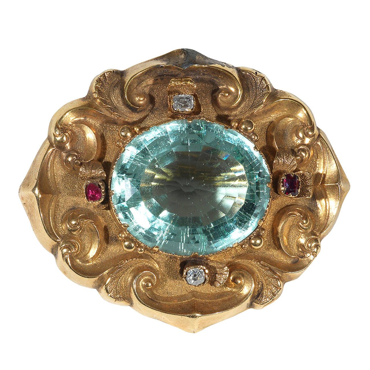 Late Victorian Aquamarine Gold Brooch Pendant For Sale At