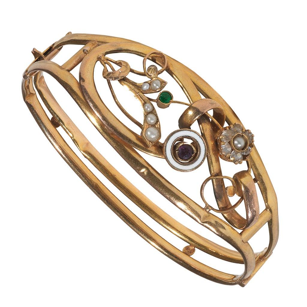 Antique Gold Floral Bangle Bracelet For Sale At 1stdibs