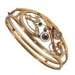 Antique Gold Floral Bangle Bracelet